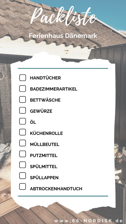 Dänemark Ferienhaus Packliste
